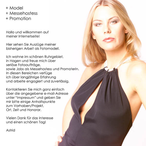 Model-Homepage von Fotomodell Astrid